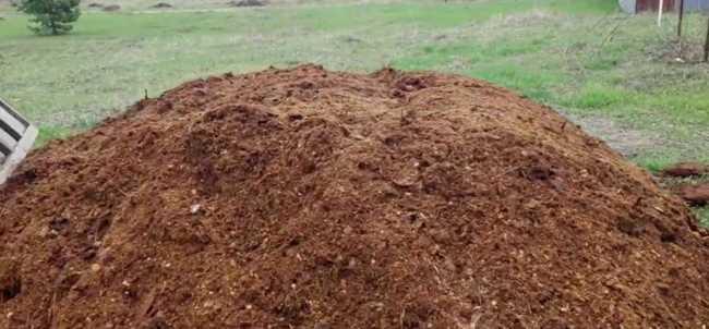 Смесь свежих опилок с компостом или навозом