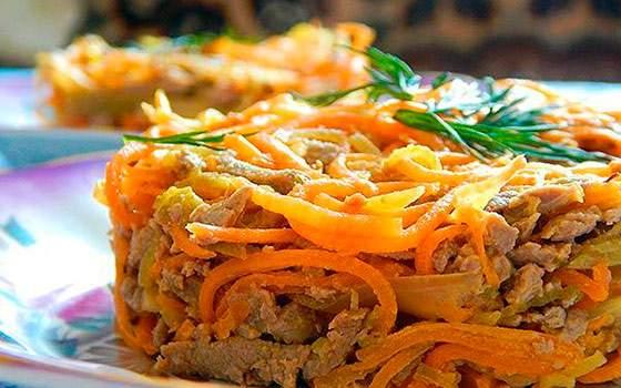 Блюдо из моркови с печенью.