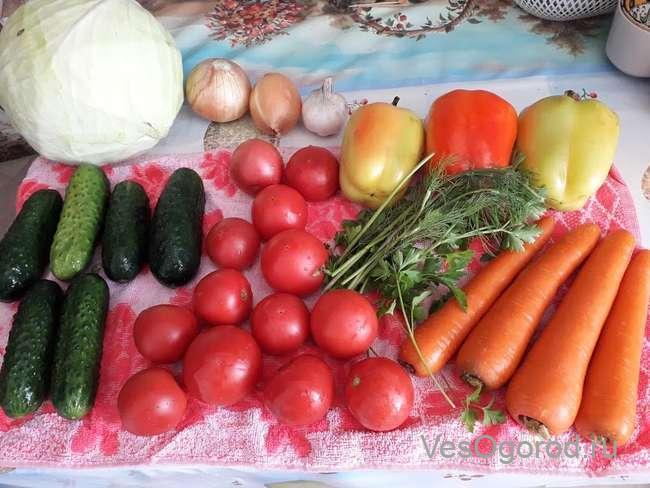 Ингредиенты на салат Витаминный Плюс