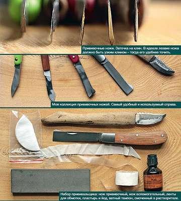 Инструменты и материалы для прививкияблони в расщеп